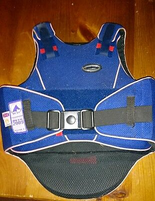 champion flexair level three body protector ridden in once,navy child's large