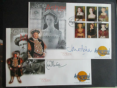 JANE ASHER & KEITH MICHELL SIGNED HENRY V111 1st DAY COVERS - FINE