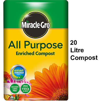 Miracle Gro 20L All Purpose Enriched Compost Potted Plants Flowers Garden Soil