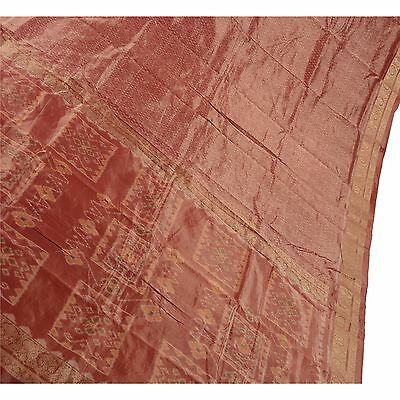 Sanskriti Vintage Sari Woven 100% Pure Silk Patola Fabric Saree Brocade Dark Red