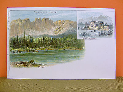 Litho-AK Karersee + Latemar (Lago di Carezza) ungelaufen TOP