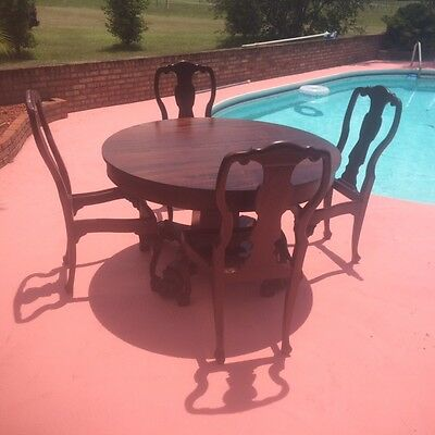 """48"""" Round Mahogany Table Complete With 4 Chairs  Late 1800S Antique Restored!"""