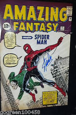 Stan Lee signed Spiderman Poster Comics Book Amazing Fantasy 15 Cover Marvel