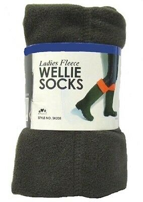 Pack of 2 Ladies Green Fleece Wellington Socks SK205 Mixed Sizes 99p Start
