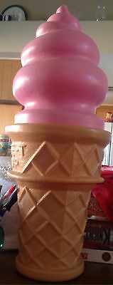 """26"""" Blow Mold Plastic Swirl SAFE T CUP Ice Cream Cone Bank STRAWBERRY Pink"""