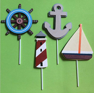 Set of LARGE 4  Nautical Theme Wooden Cupcake Toppers/ Baby Shower / Diaper Cake