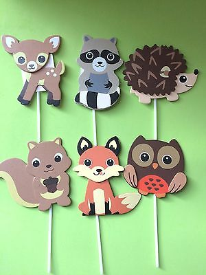 6 Large Wood Assorted Woodland Animals/ Cupcake toppers, Woodland Critters