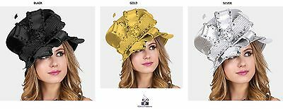 Womens Sequin Crystal Bow Feather Hat Wedding Church Derby - USA Seller