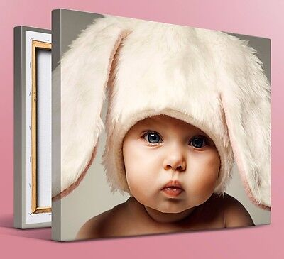 """Personalised YOUR PHOTO on a CANVAS Print Custom 12x10"""" (30x25cm) 18mm Framed"""