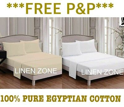 Pure Natural Egyptian Cotton Flat/fitted Bed Sheets Pillowcases T400 Thread