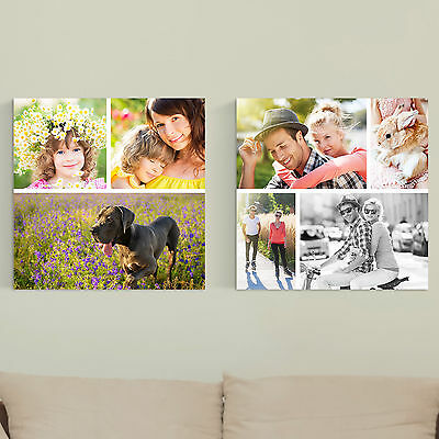 "Personalised SQUARE COLLAGE Photo Canvas Print 20x20"" (50x50cm) Custom Gift Wall"
