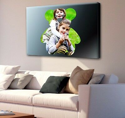 """CANVAS Personalised SHAPED YOUR Photo Print 30x20"""" (76x50cm) Custom Wall Hang"""