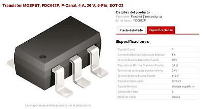 FDC642P, Transistor MOSFET, P-Canal, 4 A, 20 V, 6-Pin, SOT-23