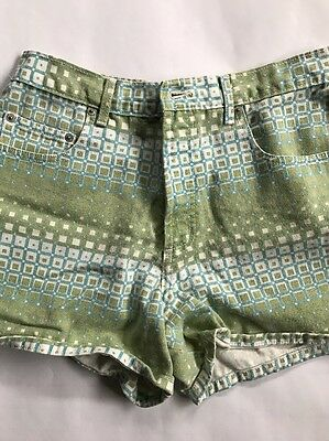 Vintage 90s Bongo Jean Shorts Green Op Art Pattern High Waist