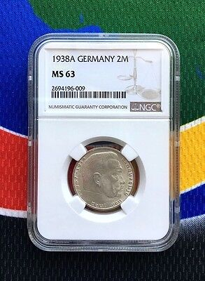 NGC MS 63 WWII 1938 A 2 Mark German Silver Coin Third Reich Reichsmark 5*