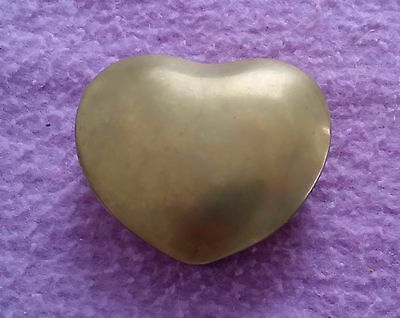 "Vintage Heart Shaped Jewelry Box Brass  (3"" X 3"")"