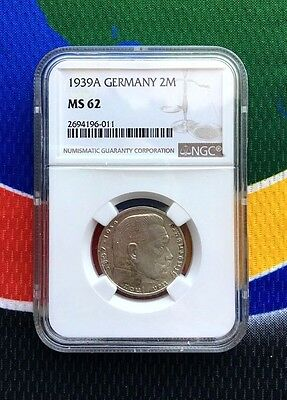 NGC MS 62 1939 A WWII 2 Mark German Silver Coin Third Reich Reichsmark 5*