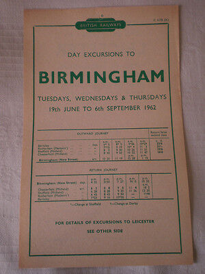 Handbill:EXCURSNS to BRUM & LEICESTER x CHESTERFLD SHEFF ROTHERHAM BARNSLEY 1962