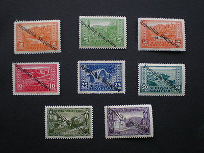 Albania mint 1925 Republic overprint set of 8 pictorial stamps
