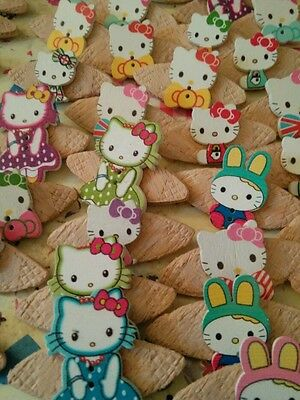 JOB LOT 10 HANDMADE HELLO KITTY THEMED WOODEN  BROOCHES - party favours etc