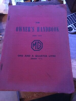 """MG OWNERS HANDBOOK one and a quarter litre (Series """"Y"""")"""