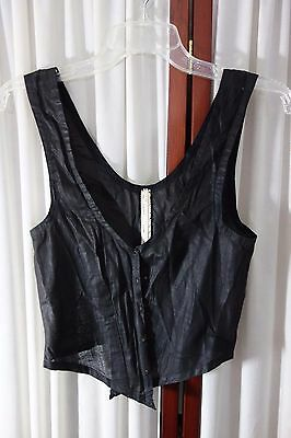 Victorian Black Cotton Camisole w/Stays-Lillie Friederichsen - Small -VG-UNUSUAL