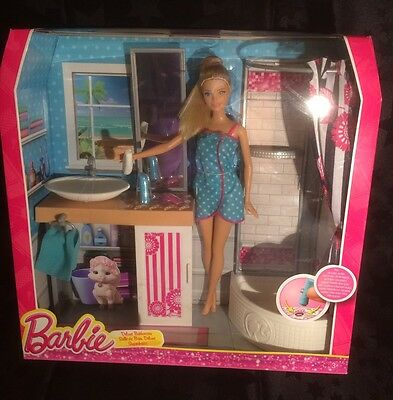 Barbie Doll Deluxe Bathroom Furniture Sink & Shower Set with Accessories NIB