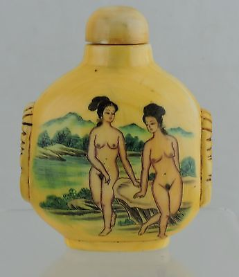 Japanese Or Chinese Snuff Bottle Carved Hand Painted Nude Women & Lotus Flower