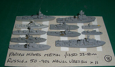 Russian 50-90s Naval Vessels x 11 by Various Makes, Scale 1/1250