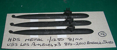 USS Los Angeles x 3 1980-2010 American Nuclear Subs by HDS, Scale 1/1250