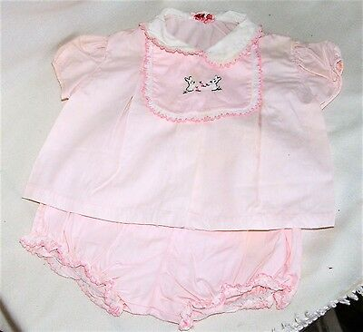 Vintage Pink Baby Dress Diaper Set with Detachable Bib