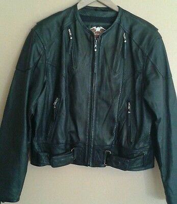 Harley Davidson women's black leather perforated jacket embossed  B&S size XL