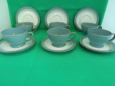 Denby Stoneware Storm  6 x Tea Cups and 6 x Saucers