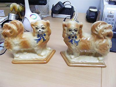 A Lovely Pair Of Antique BO'NESS Scottish Pottery Dogs
