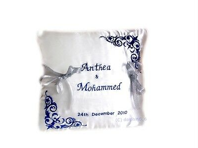 New Unique Embroidered Personalised Wedding Bearer Ring Cushion Royal Blue White