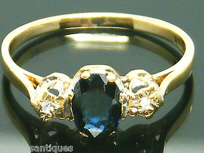 9ct Gold 9k Gold Vintage  sapphire & diamond ring size R Hallmarked & Boxed