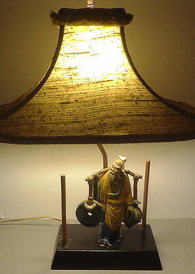 19thC CHINESE MUD FIGURE mounted as 1930's TABLE LAMP w/ CUSTOM SHADE-FANTASTIC