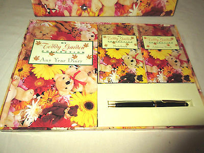 My Teddy Garden Collection Diary Address Book Notebook Pen Stationary Set NEW