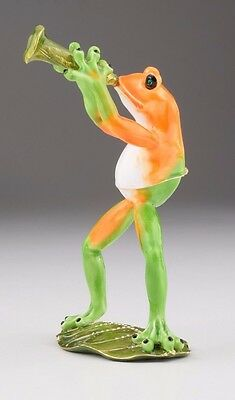 Frog playing clarinets trinket box by Keren Kopal Austrian Crystal  Faberge