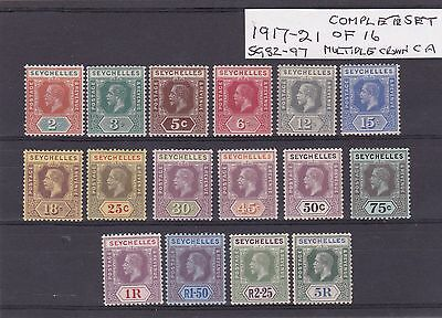 Seychelles 1917-1921 set of 16 values Fine mint  Cat Value £264.00