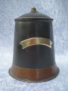 Early Metal Copper And Brass Hinged Lidded Tobacco Jar