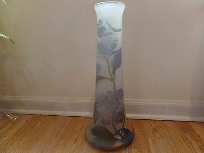 """EMILE GALLE Signed with Star MASSIVE Antique Cameo Vase! 17.50"""" Tall! Authentic!"""