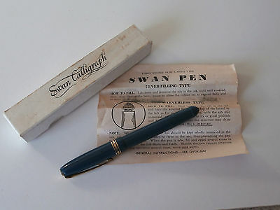 Mabie Todd Swan Calligraph Fountain Pen with 14ct Gold Nib, Box & Instructions