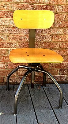 Industrial Stool Adjustable Height And Back Wooden Seat Bevco Mfg