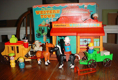 Vintage Fisher Price Little People Western Town  Complete,original box