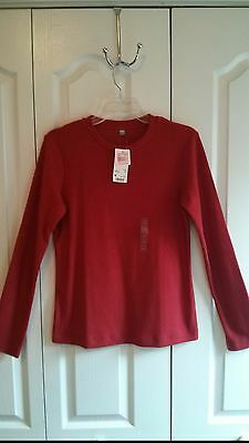 UNIQLO Women HEATTECH CREW NECK Long Sleeve T-Shirt Packaged Red NEW Size M