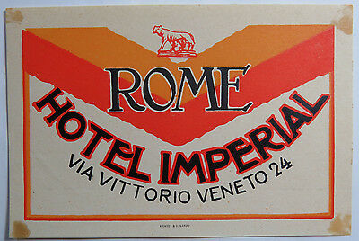 Vintage Luggage Label - Hotel Imperial, Rome Italy