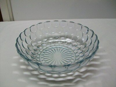 "Vintage Anchor Hocking Sapphire Blue ""Bubble"" Pattern 8 3/8"" Large Berry Bowl"