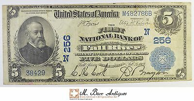 1902 $5.00 1st National Bank Of Fall River, MA Large Horseblanket Note *451