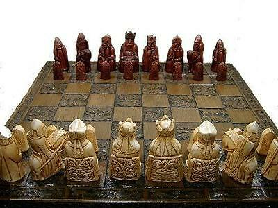interesting detail isle of lewis chess set chessmen game pieces perfect condit'n